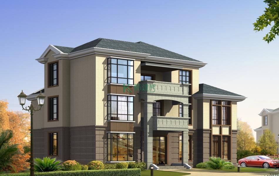 三层欧式别墅效果图新款精致,占地120平方12×10米带露台阳台农村独栋别墅设计图