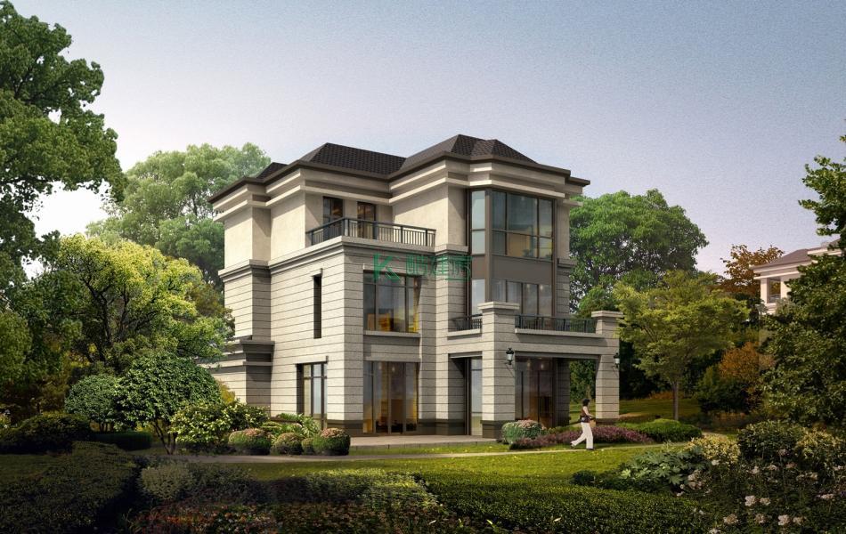 三层法式别墅效果图新款小户型,占地108平方9×12米带露台农村独栋别墅设计图