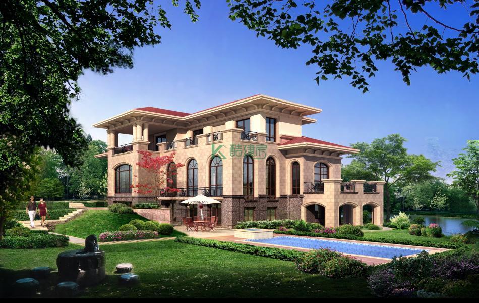 三层美式别墅效果图精致典雅,占地117平方9×13米带露台泳池阳台农村独栋别墅设计图