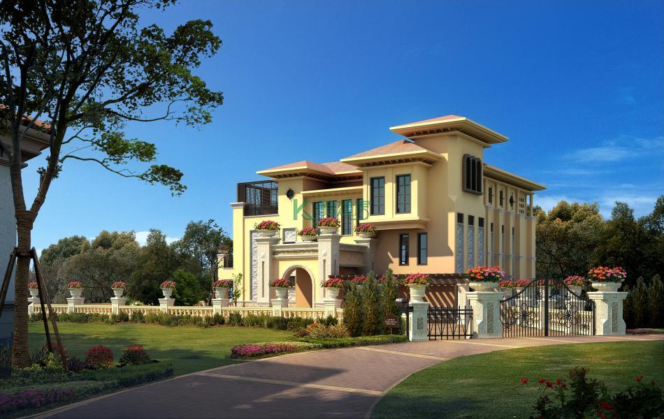 三层欧式别墅效果图顶级高端,占地195平方13×15米带院子露台复式客厅农村独栋别墅设计图