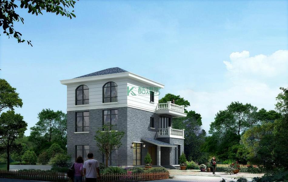 三层中式别墅效果图小户型典雅,占地88平方11×8米带露台农村独栋别墅设计图