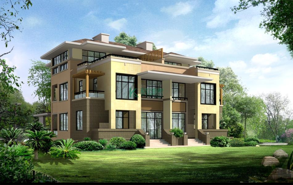 三层美式别墅效果图高端豪华,占地140平方14×10米带露台阳台农村双拼别墅设计图