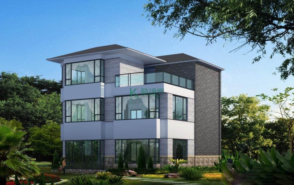 三层中式别墅效果图新款经济型,占地108平方9×12米带露台农村独栋别墅设计图