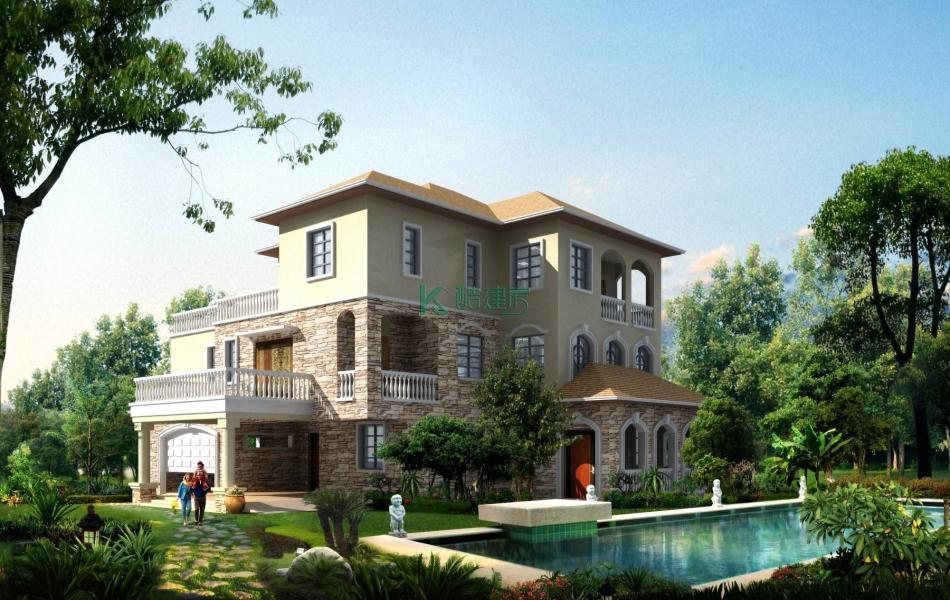 三层欧式别墅效果图顶级高端,占地165平方11×15米带车库院子露台泳池阳台农村独栋别墅设计图