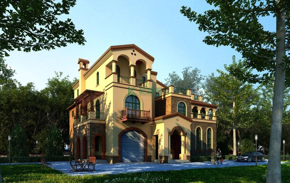 三层欧式别墅效果图小户型精致,占地128平方16×8米带车库露台旋转楼梯阳台农村独栋别墅设计图