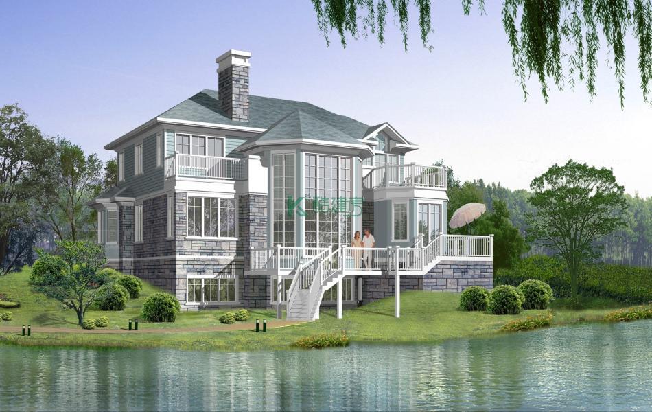 三层欧式别墅效果图新款时尚,占地117平方13×9米带车库地下室露台复式客厅农村独栋别墅设计图