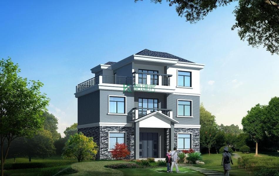 三层中式别墅效果图简单经济型,占地132平方11×12米带露台阳台农村独栋别墅设计图
