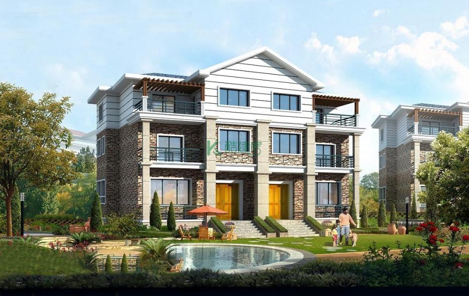 三层欧式别墅效果图新款气派,占地180平方18×10米带露台阳台农村双拼设计图