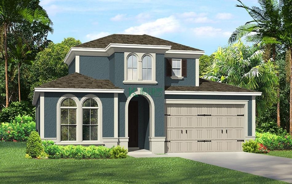 二层欧式别墅效果图简单美观,占地340平方17×20米带车库露台农村独栋别墅设计图