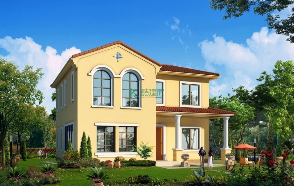 二层欧式别墅效果图简单小户型,占地39平方13×3米带阳台农村独栋别墅设计图