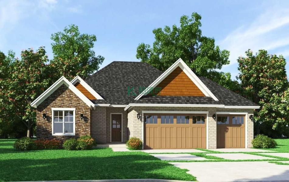 一层美式别墅效果图简单小户型,占地80平方10×8米带车库阁楼农村独栋别墅设计图