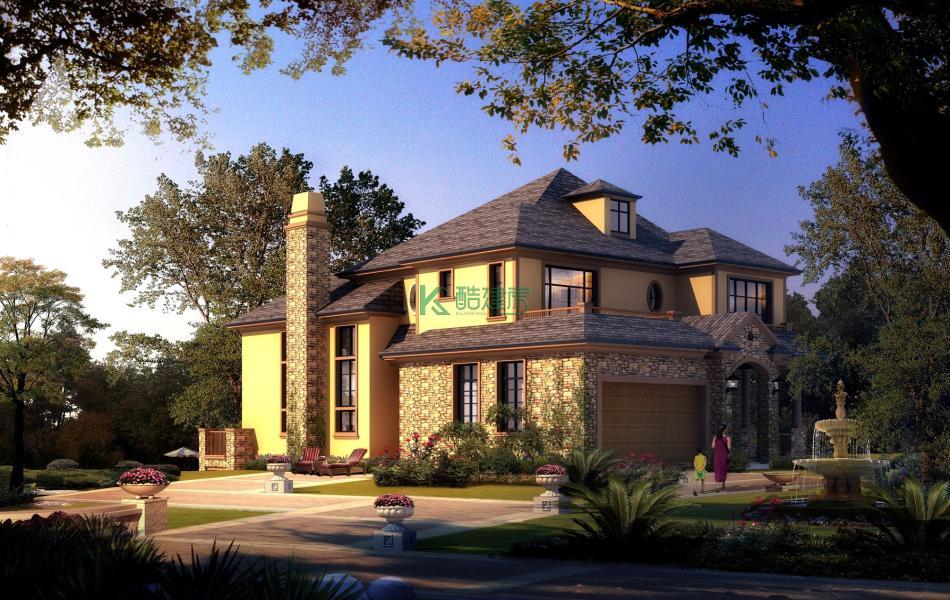 二层美式别墅效果图小户型精致,占地99平方11×9米带阁楼露台农村独栋别墅设计图