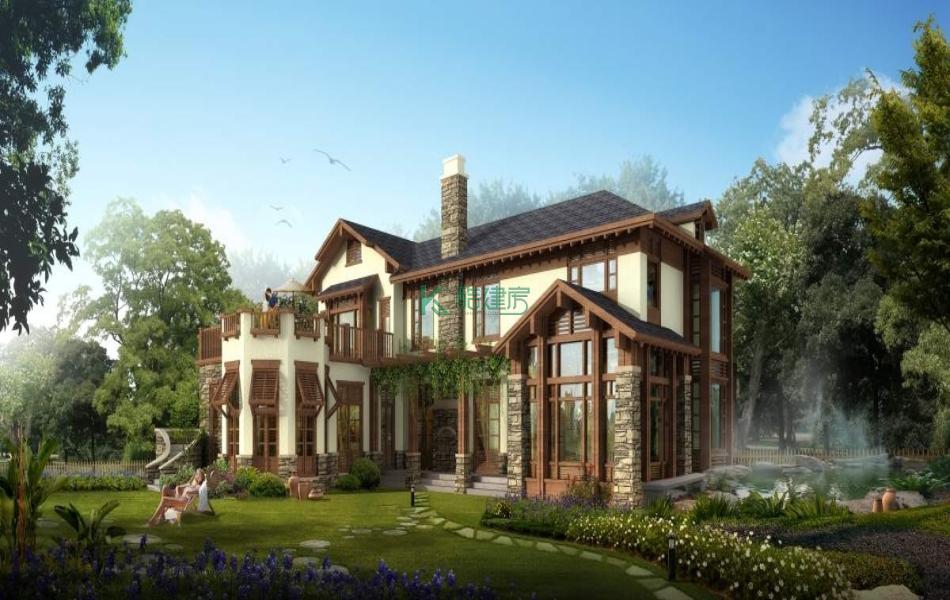 二层欧式别墅效果图精致复古,占地210平方15×14米带地下室露台农村独栋别墅设计图