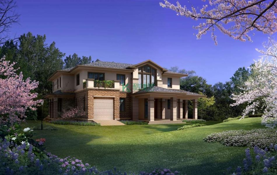 二层美式别墅效果图高端复古,占地272平方17×16米带车库露台农村独栋别墅设计图