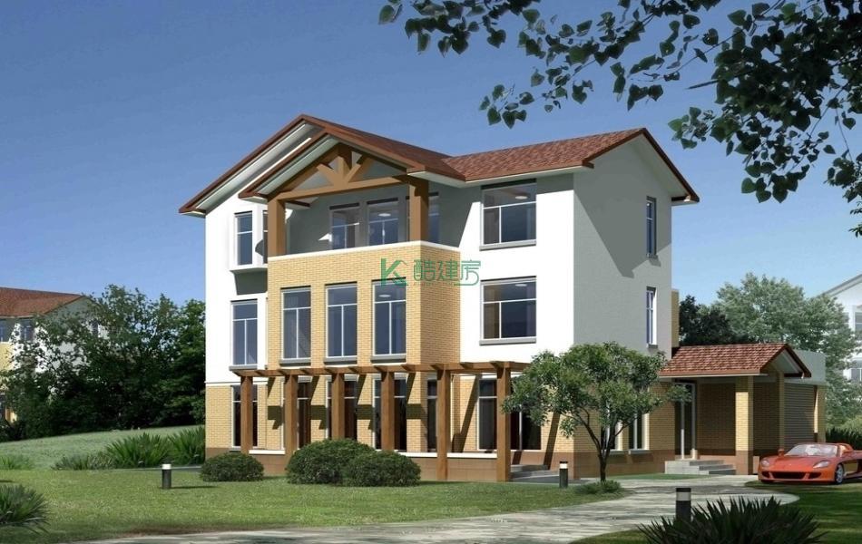 三层田园别墅效果图小户型时尚,占地80平方10×8米带阳台农村独栋别墅设计图