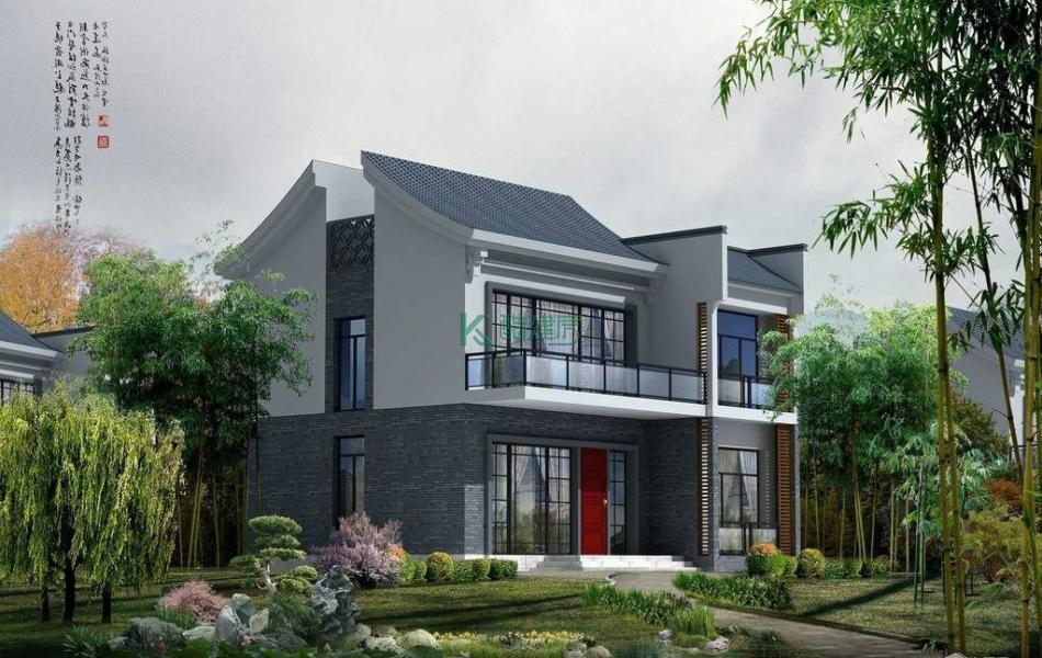 二层中式别墅效果图素雅精致,占地252平方21×12米带露台农村独栋别墅设计图
