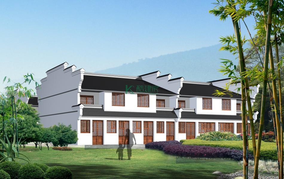 二层徽派别墅效果图简单素雅,占地135平方15×9米带阳台农村双拼自建房设计图