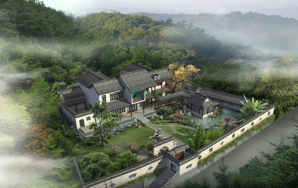 二层中式别墅效果图素雅别致,占地300平方25×12米带院子花园阳台农村别墅设计图