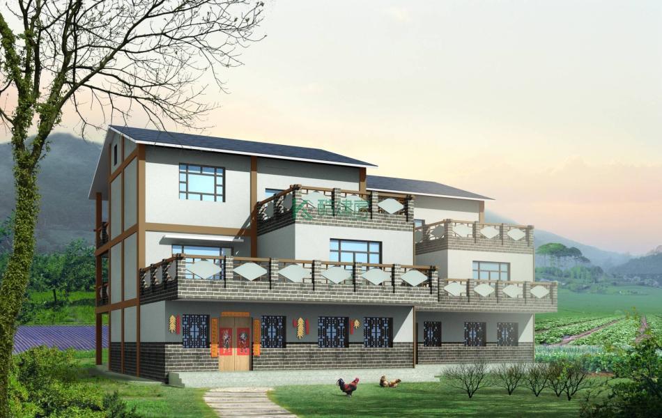 三层田园别墅效果图小户型时尚,占地128平方16×8米带露台阳台农村独栋自建房设计图