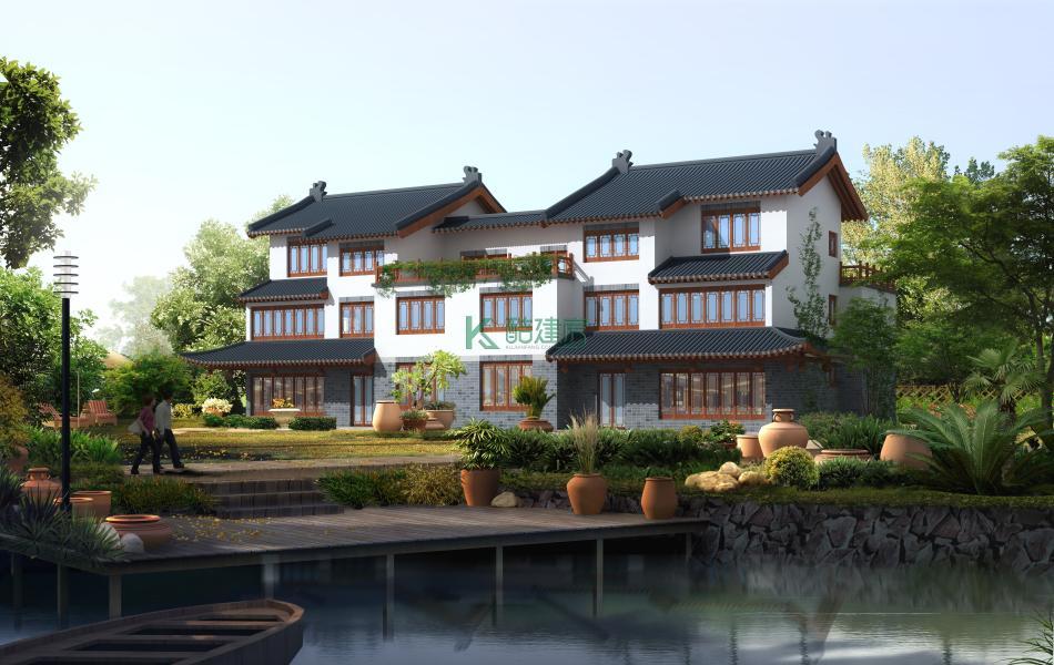三层中式别墅效果图新款复古,占地220平方20×11米带露台花园农村双拼别墅设计图