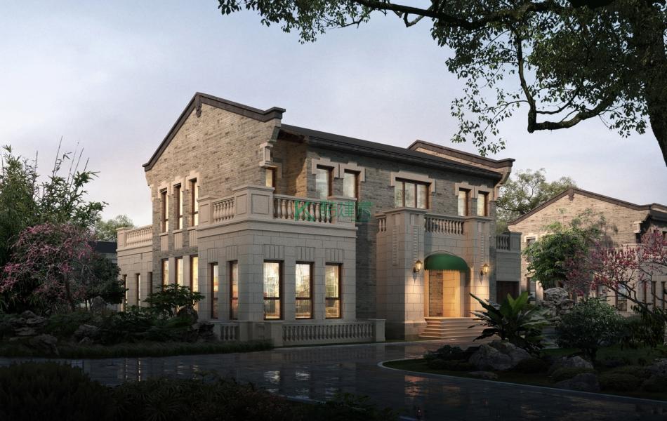 二层欧式别墅效果图小户型复古,占地90平方10×9米带露台阳台农村独栋自建房设计图