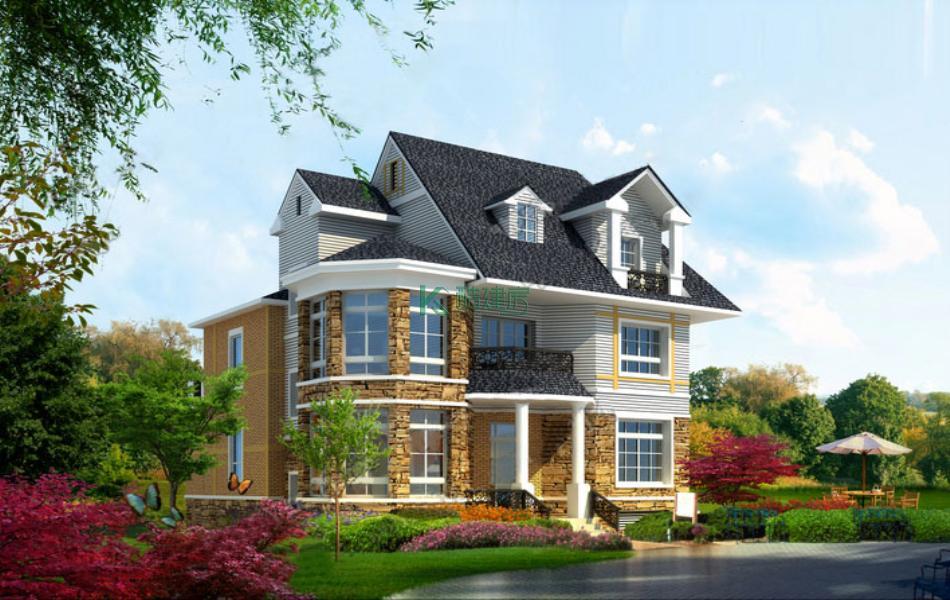 三层欧式别墅效果图小户型美观,占地117平方9×13米带车库地下室农村独栋别墅设计图