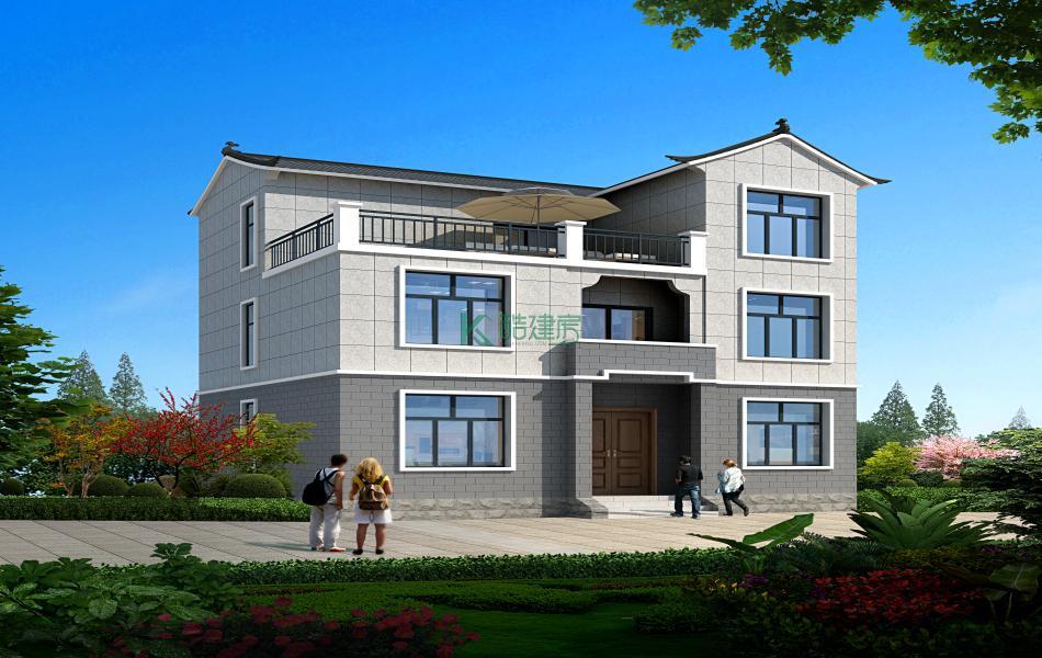 三层欧式别墅效果图实用,占地96平方12×8米带露台农村独栋自建房设计图