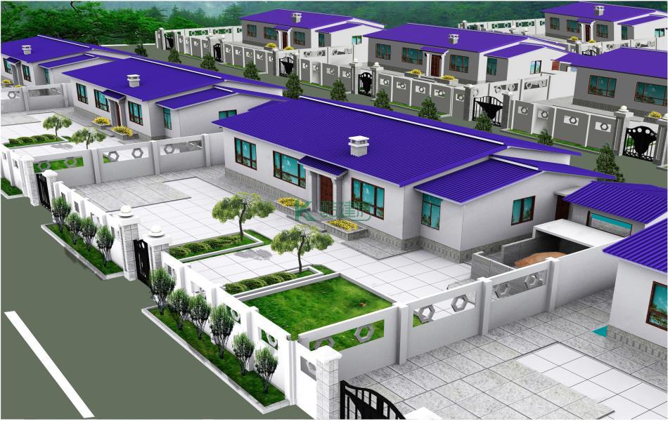 一层现代简约别墅效果图个性大气,占地135平方15×9米带院子农村独栋自建房设计图