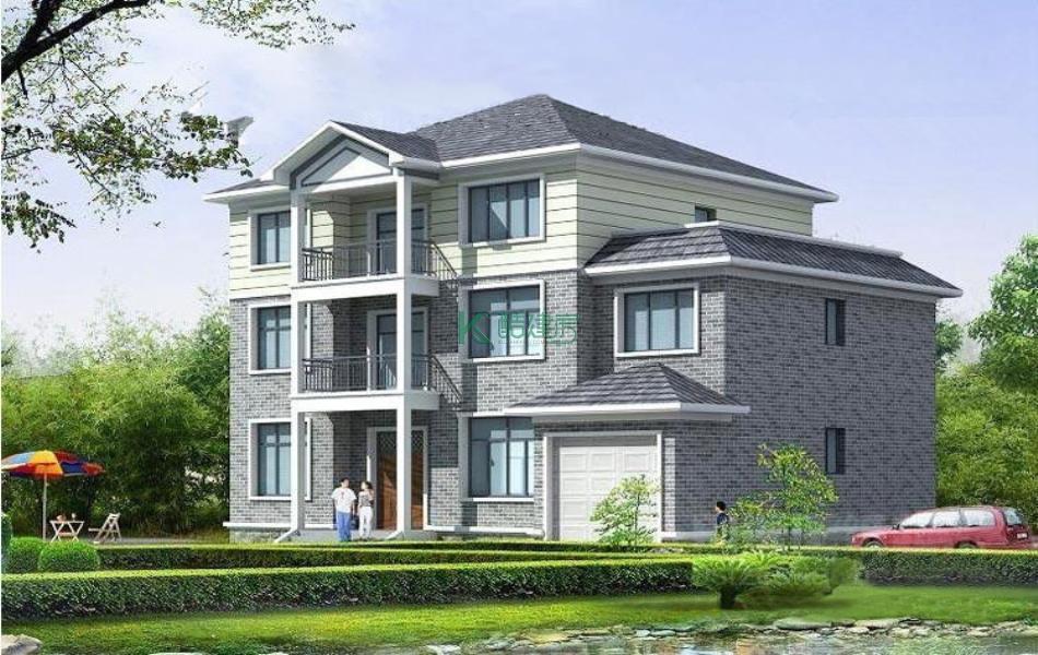 三层中式别墅效果图新型高端,占地165平方15×11米带车库露台堂屋阳台农村独栋别墅设计图