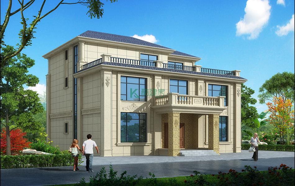 三层法式别墅效果图新款大气,占地99平方11×9米带露台农村独栋别墅设计图