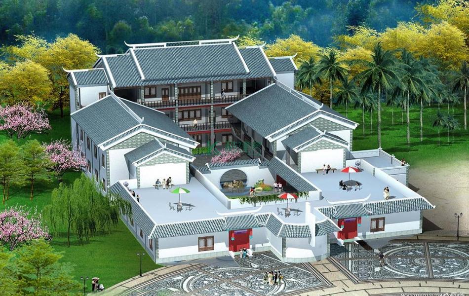 三层中式别墅效果图大气复古,占地228平方12×19米带院子露台阳台农村四合院设计图
