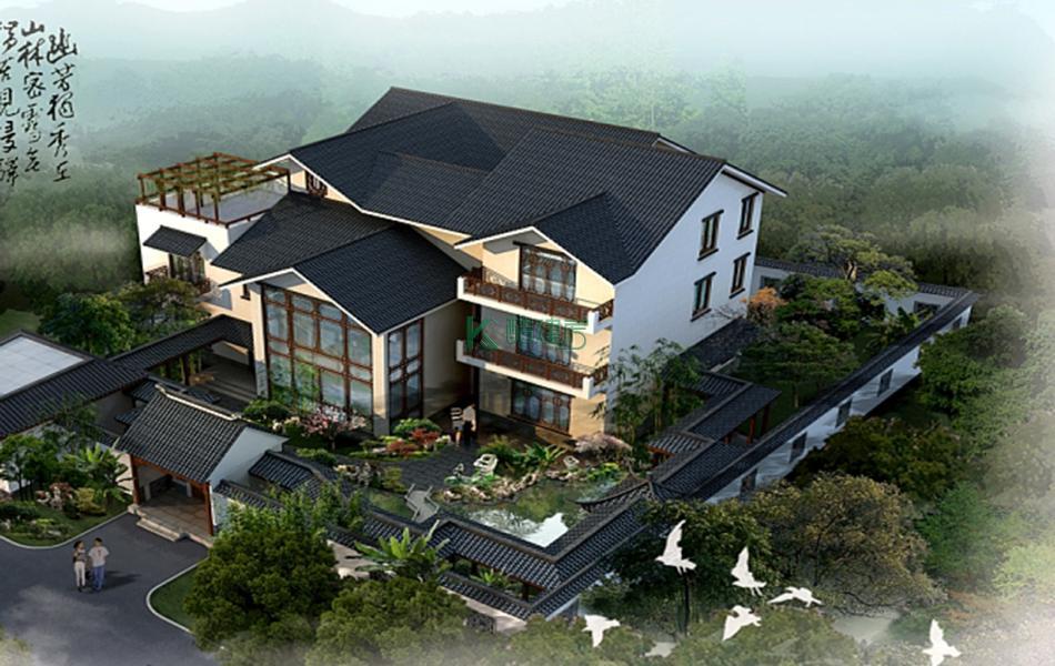 三层中式别墅效果图素雅复古,占地135平方9×15米带院子阁楼露台花园阳台农村独栋别墅设计图