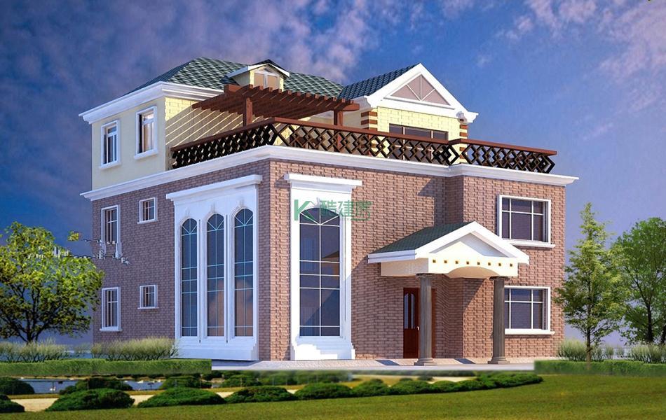 三层欧式别墅效果图小户型美观,占地80平方10×8米带露台复式客厅农村独栋别墅设计图