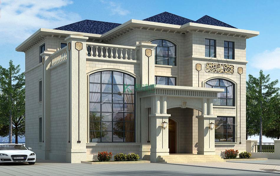 三层欧式别墅效果图小户型气派,占地99平方11×9米带院子露台复式客厅农村独栋别墅设计图