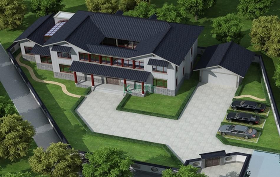 二层中式别墅效果图小户型素雅,占地104平方13×8米带院子农村四合院设计图