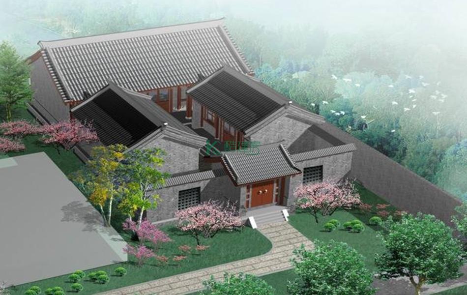 二层中式别墅效果图素雅复古,占地195平方13×15米带院子堂屋农村四合院房屋设计图
