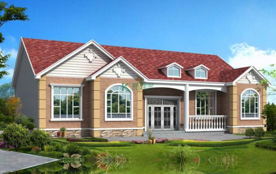 一层美式别墅效果图豪华精致,占地152平方19×8米带院子阁楼花园农村独栋别墅设计图