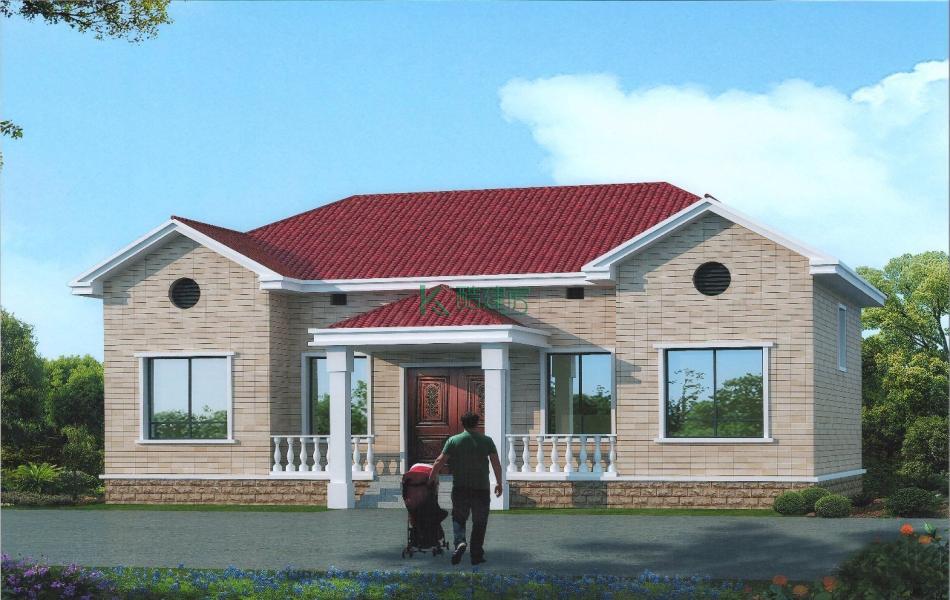 一层美式别墅效果图个性简单,占地150平方15×10米带阁楼农村独栋别墅设计图