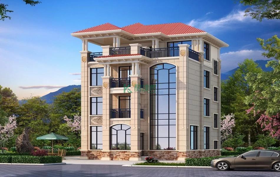 四层美式别墅效果图新款小户型,占地99平方11×9米带露台阳台农村独栋别墅设计图