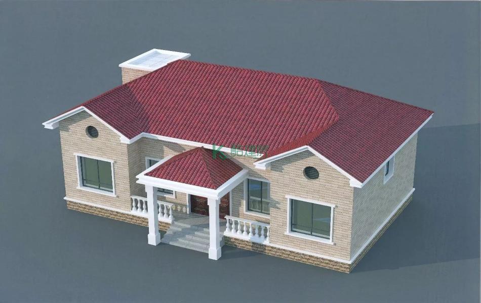 一层美式别墅效果图简约小户型,占地108平方12×9米带阁楼农村独栋别墅设计图